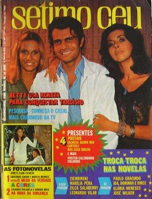 Renata Sorrah, Tarcisio Meira e Betty Faria na capa de Sétimo Céu.