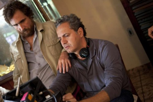 Breno e João Miguel durante as filmagens.